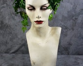 Order by 10/25 for Halloween delivery: Sexy Poison Ivy Headpiece with extras - Headband Ivy & red Roses -  Fairy, Wedding, costume, cosplay,