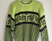 Neon green ski sweater size small to medium