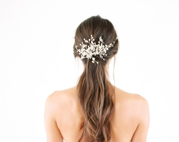 Gold crystal Bridal Headpiece, Wedding Hair Vine, Bridal Hair Piece, Silver Crystal beaded head piece, Gold Wedding Hair Accessories
