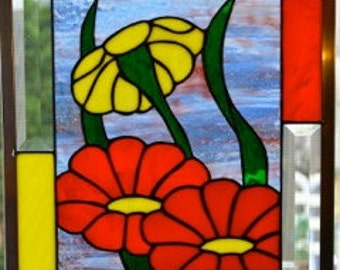 Spring Flowers Stained Glass Panel
