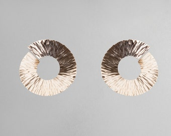 Silver or Gold-Fill Large Hammered Span Earring | Sequence Collection by Haley Lebeuf