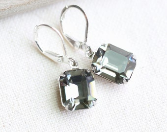 Black Diamond Vintage Silver Crystal Earrings Gray Earrings Gray Crystal Birthstone Earrings Swarovski Earrings Bridesmaid Jewelry