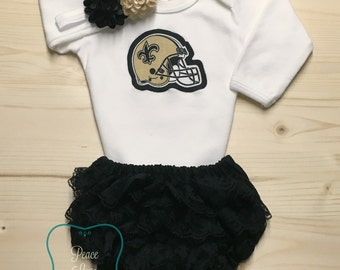 New Orleans Saints Bodysuit, Lace Diaper Cover and Headband Set Made from Saints Fabric, Saints Baby Outfit, Baby Girl Saints, NOLA Baby
