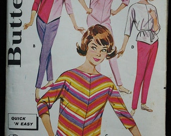 Butterick 9805 1960s 60s  Mod  Cigarette Pants and Dolman Sleeve Blouse  MCM Vintage Sewing Pattern Size 14 bust 34