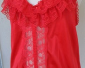 Vintage Teddy Sheer Red Lace Size 1X Plus Size Silky Nylon