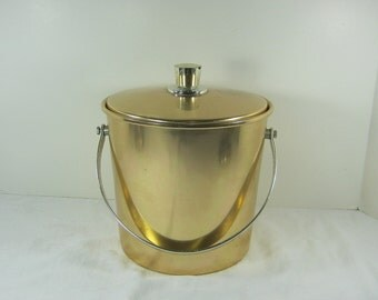 Vintage ANODIZED ALUMiNUM ICE BUCKET Gold Regal Retro Barware Mod Midcentury Wine Chiller