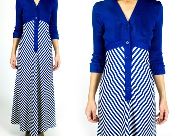 Vintage 1970s Cobalt Blue V-Neck Chevron Stripe Ribbed Knit Top A-Line Long Sleeve Maxi Dress Size XS Extra Small or S Small