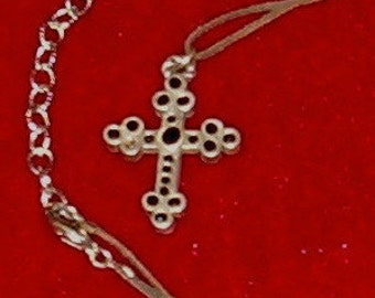"Cross, Gothic Pewter w Beveled Black Stones 1 1/2""L"
