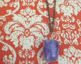 Amethyst Charm Necklace, Large Tumbled Stone Pendant, Wire Wrapped Amethyst on Brass Chain