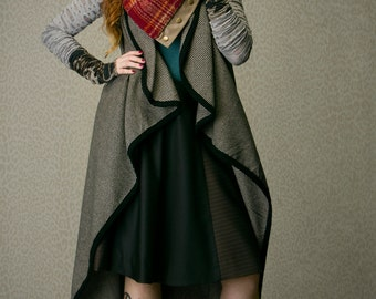 Long wool vest, layering piece, winter fashion, unisex fashion