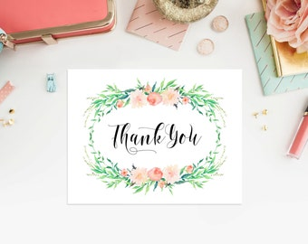 Instant Download - Delicate Thank You Folded Note Card