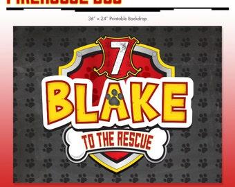 Firehouse Dog Paw Birthday Backdrop - Party Printable Sign - DIY Print - Fire Marshall Patrol - Dalmation