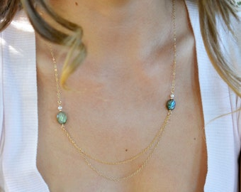 Simple Labradorite Stone Necklace, Gold Labradorite Necklace, Double Chain Necklace