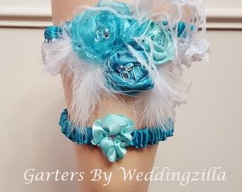 OOAK Feather Wedding Garter Set, Aqua Turquoise Lace Bridal Garter, Feather Garter Belt, Flower Garte