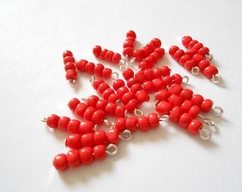 Red Seed 4Bead Glass Dangle Beads