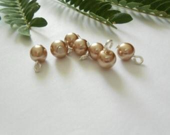 Light Bronze Glass Pearl Dangle Beads