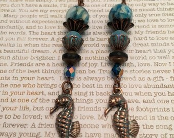 Seahorse Earrings - OOAK Made With Copper And Aqua Sea Blue Czech Beads, Shell Beads And Copper Beads Ocean Beach Sea Jewelry