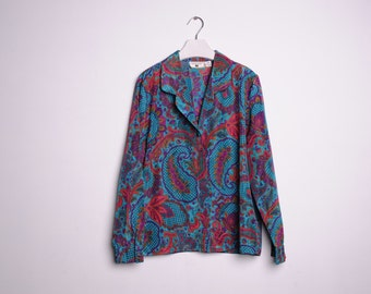 Vintage Stefanie Blue, Red & Purple Floral Blouse, Made in USA, Womens Size 14 / ITEM590