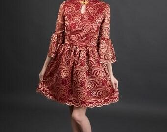 Modern Chinese Cheongsam Qipao Red Lace Dress with Mandarin Collar