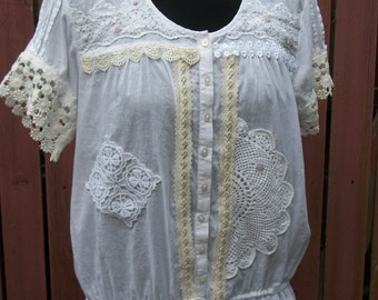 White & Cream Lace Blouse with Lavender Button Details - Junk Gypsy Clothing - Medium