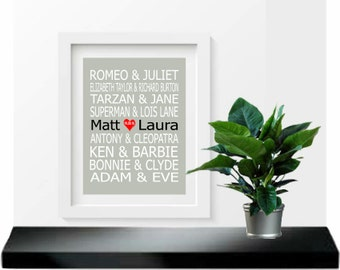 Famous Couples Print, Couples Art, Personalized Couples Gift, Custom Wedding Gift, Bridal Shower Gift