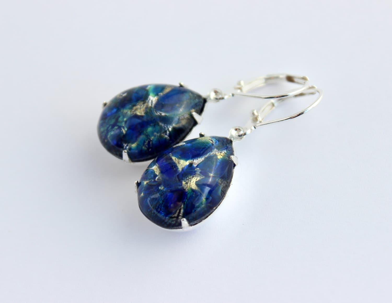 blue opal earrings blue teardrop earrings blue earrings. Black Bedroom Furniture Sets. Home Design Ideas