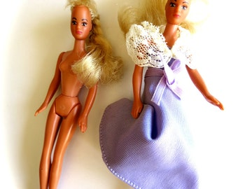 Vintage Glamour Gals Dolls-Jessie in Lavender Lady & Nude-Kenner Toy Figures-Blond w/ Brown Eyes-Pink, White Espadrilles-1980's Figurines