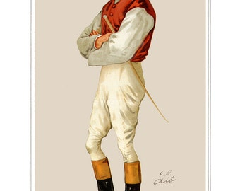 Horse Track Racing Jockey Print in Racing Colors. Jockey Prints. Horse Racing Prints of Jockeys. Sporting Prints Mans Office. Betting Man