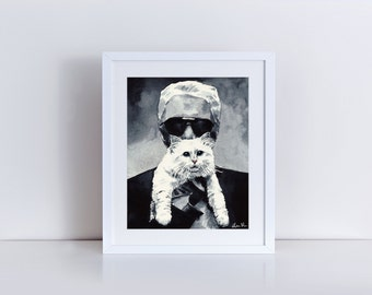 Choupette Chanel Cat Karl Portrait Kitten Giclee Print of Watercolor Cute Cat Lover Kitty Black Coco Chanel Paris Fashion Gift for Her