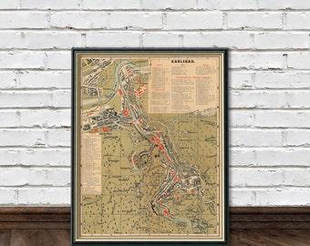 Karlovy Vary map - Old map restored - Fine print