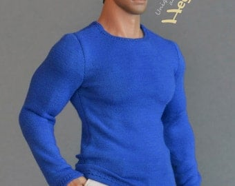 1/6th scale XXL blue long sleeves T-shirt for: Hot Toys TTM 20 size bigger / larger action figures and male fashion dolls