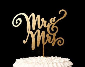 Wedding Cake Topper - Mr and Mrs Cake Topper - Gold - Daydream Collection