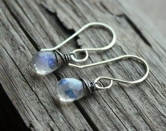 Moonstone Earrings- Sterling Silver, Artisan Earrings, Wire Wrapped Earrings