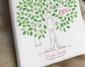 Baby Shower Thumbprint Tree Guest Book Alternative, Gender Reveal Party, Baby Announcement, Nursery Wall Art, Owls & Swing, Canvas or Print