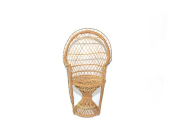 Wicker Chair Plant Stand Wicker Chair Planter Peacock Chair Miniature Wicker Chair Boho Chair Wicker Doll Chair
