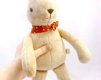 tan bunny rabbit stuffed animal - soft, washable, embroidered