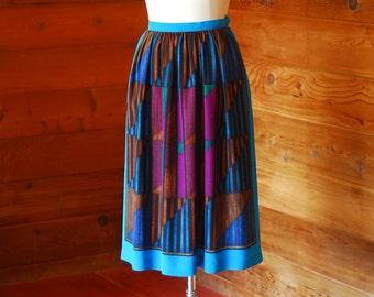 vintage silk print skirt / size small medium
