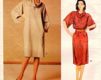 Vintage Vogue American Designer Geoffrey Beene Pattern 1223 - Misses Loose-Fitting, Pullover Dress with Standing or Roll Collar - Size 12