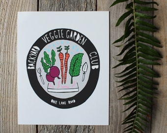 Backyard Veggie Garden Club - Art Print  - Wall Art
