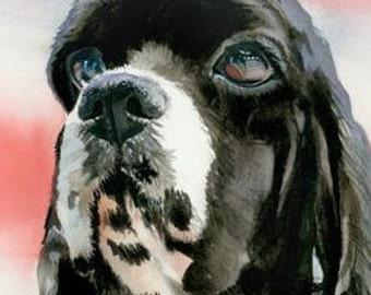 CUSTOM Pet Dog Cat Portrait Original Watercolor Painting, OOAK Dog Art, Pet Wall Art, Dog Home Decor, Animal Art by Judith Stein