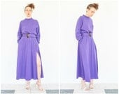 80s Bill Blass Sporty Purple Slit Dress Dress