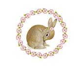 Bunny art print by Fiammetta Dogi - floral garland print - 5x7 print - cute bunny