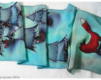 "Fox Silk Scarf. Handpainted silk scarf with trees & hidden foxes 9""x53"" crepe. Hand painted silk scarves. Hand-painted silk scarf. Fox scarf"