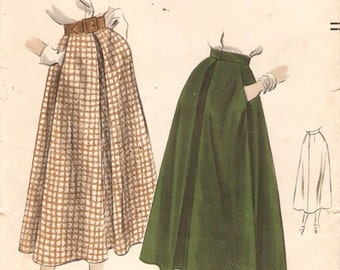 Neat Vintage late 1940s Vogue 6838 Flared Midi Skirt with Inverted Pleat Sewing Pattern W24