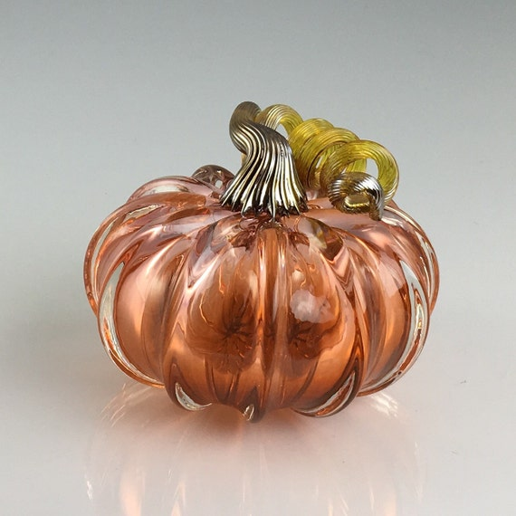 "3.5"" Glass Pumpkin by Jonathan Winfisky - Transparent Aurora - Hand Blown Glass"