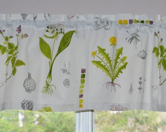 Kitchen Valance .  Kitchen Curtain . Garden Fabric . Wildflower Fabric . Ikea Dorthy .  Handmade by Pretty Little Valances