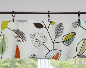 "Kitchen Valance . Mini Valance  8""x 52"" . Coventry Carson Fiesta .  Leaf Valance . Window Valance .  Handmade by Pretty Little Valances"