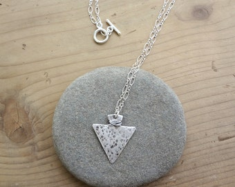 Sterling silver hammered arrowhead necklace with sterling silver chain for women and teens. Minimal organic unisex triangle pendant necklace