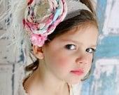 THE LACINA- Pink Blue and Ivory Satin Layered Flower Headband, Girls Headband, Baby Headband, Toddler Headband, Infant Headband