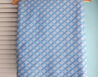Polyester Double Knit Stretch Fabric, Poly Knit, Blue Criss Cross, Blue Polyester, Vintage Polyester Fabric, Retro Stretch Fabric Yardage